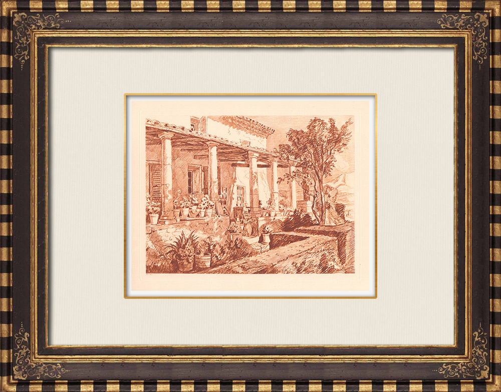 Antique Prints & Drawings | Maison des Colonnes close to Aix-en-Provence - Provence-Alpes-Côte d'Azur (France) | Copper engraving | 1943