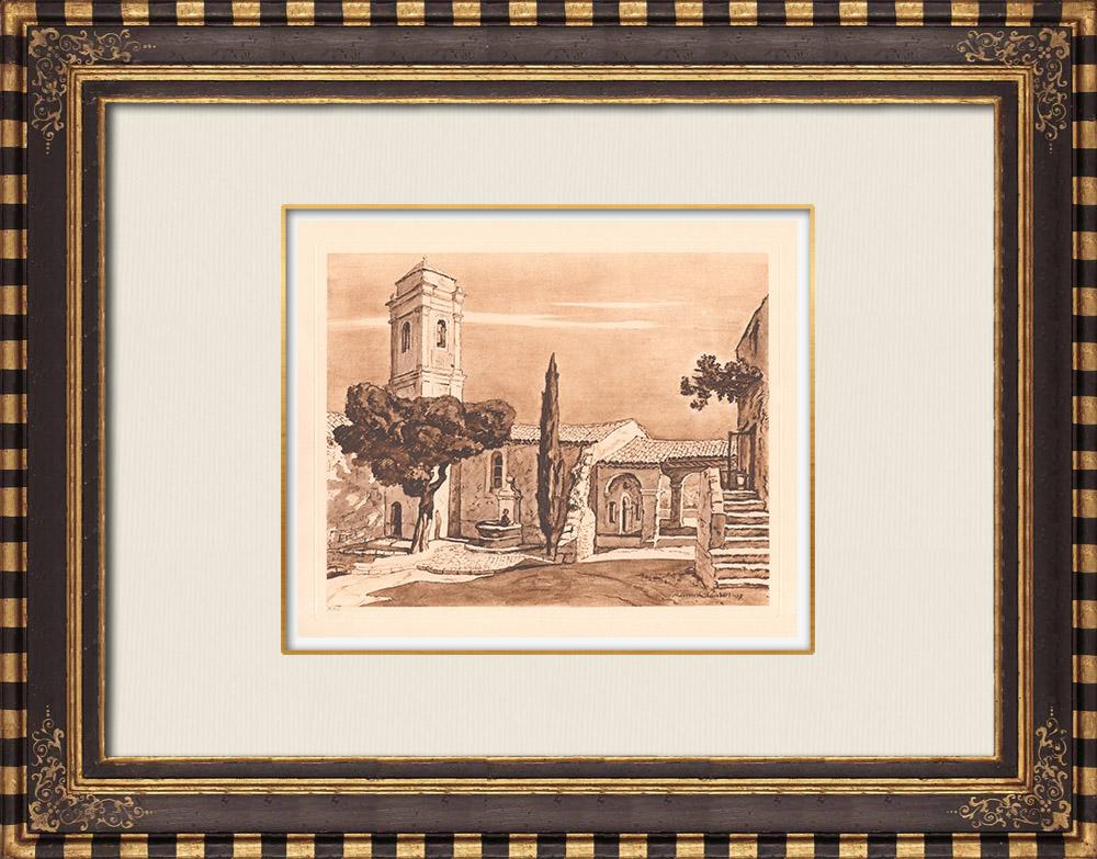 Antique Prints & Drawings | Chapel - Cagnes-sur-Mer - Provence-Alpes-Côte d'Azur (France) | Copper engraving | 1943