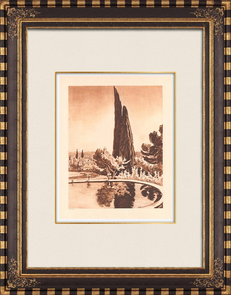 Antique Prints & Drawings | A garden in Aix-en-Provence - Provence-Alpes-Côte d'Azur (France) | Copper engraving | 1943