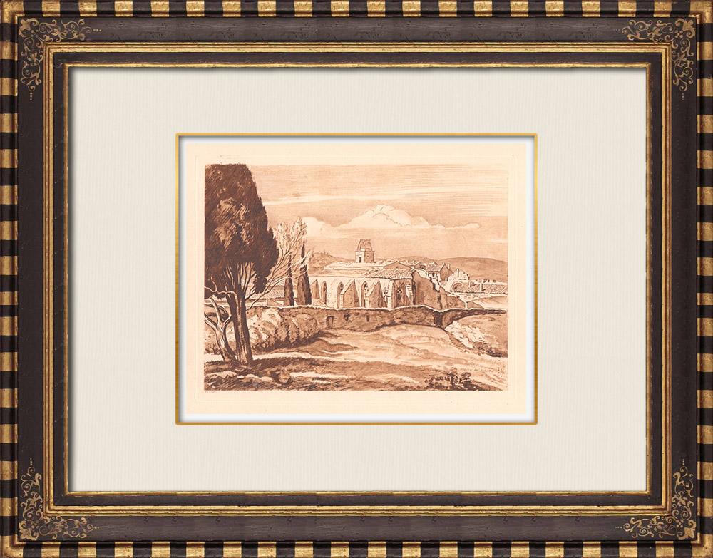 Gravures Anciennes & Dessins | Chartreuse de Villeneuve-lès-Avignon - Moyen-âge - Gard - Provence-Alpes-Côte d'Azur (France) | Gravure sur cuivre | 1943