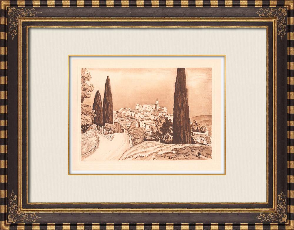 Gravures Anciennes & Dessins | Vue de Solliès-Ville - Var - Provence-Alpes-Côte d'Azur (France) | Gravure sur cuivre | 1943