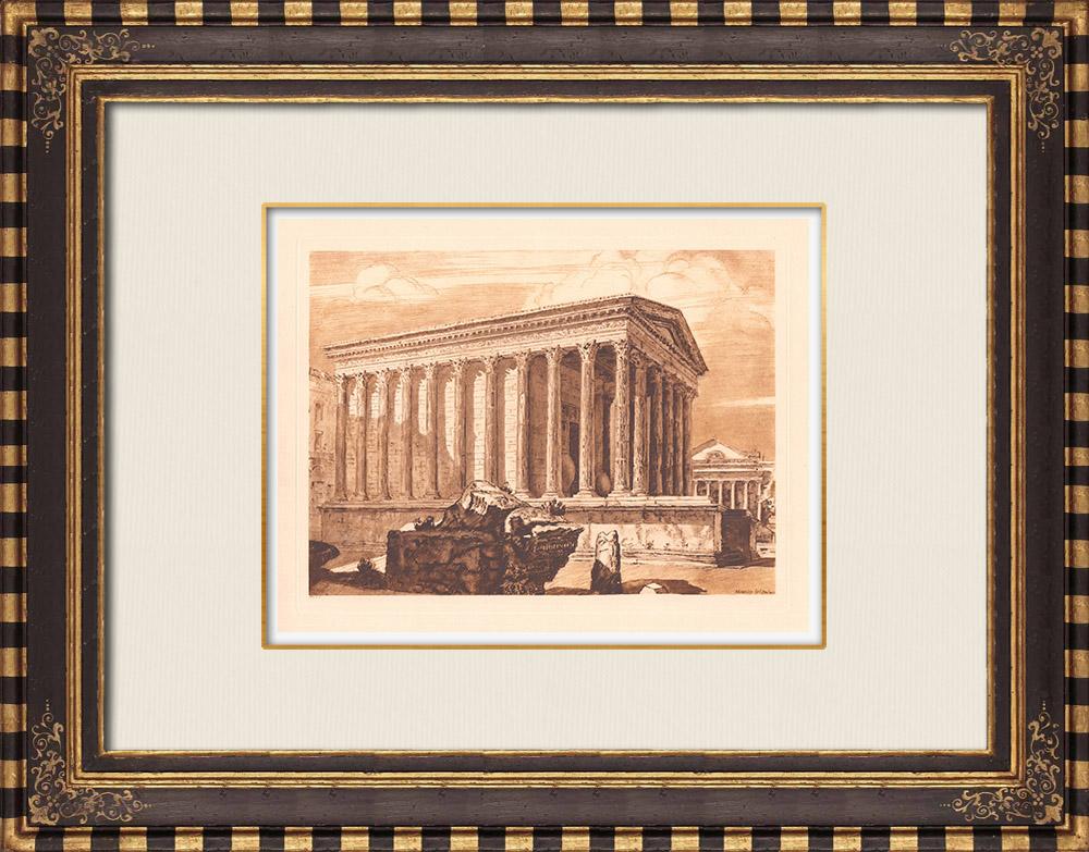 Antique Prints & Drawings | Maison Carrée - Roman Temple - Nîmes - Gard (France) | Copper engraving | 1943