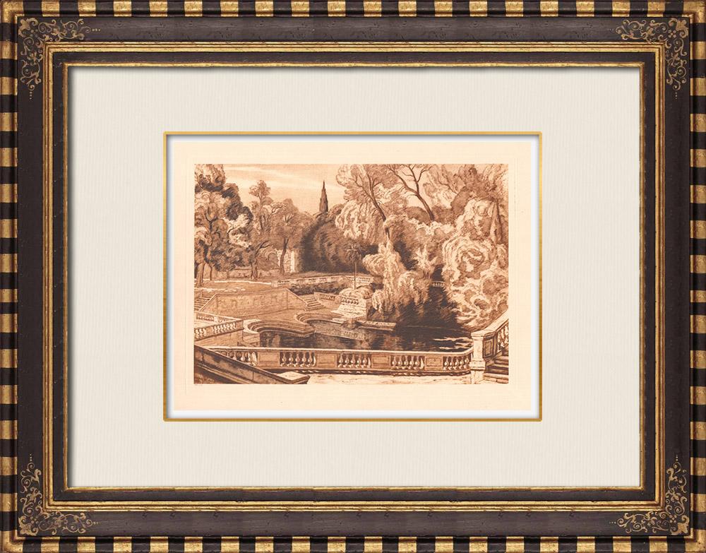 Antique Prints & Drawings | Jardins de la Fontaine - Botany - Nîmes - Gard - Languedoc-Roussillon (France)  | Copper engraving | 1943