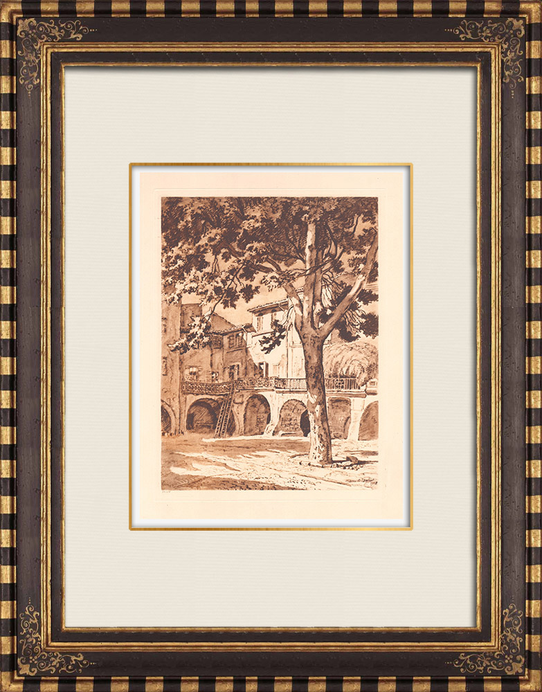Antique Prints & Drawings | View of Sommières - Gard - Languedoc-Roussillon (France) | Copper engraving | 1943