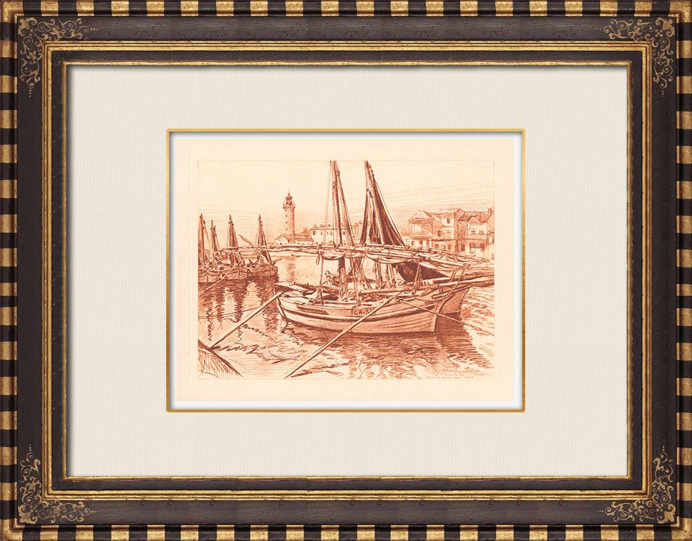 Gravures Anciennes & Dessins   Bateaux au Port Le Grau-du-Roi - Vieux Phare - Gard - Languedoc-Roussillon (France)   Gravure sur cuivre   1943