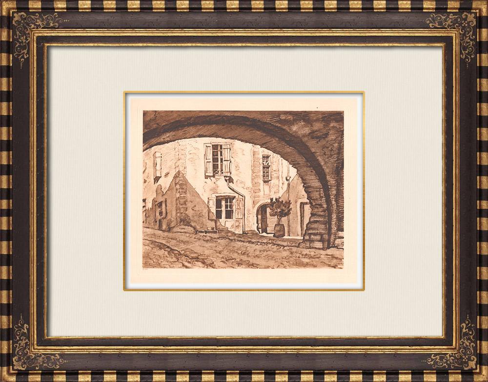 Grabados & Dibujos Antiguos | Una calle en Génolhac - Gard - Languedoc-Rosellón (Francia) | Grabado calcográfico | 1943