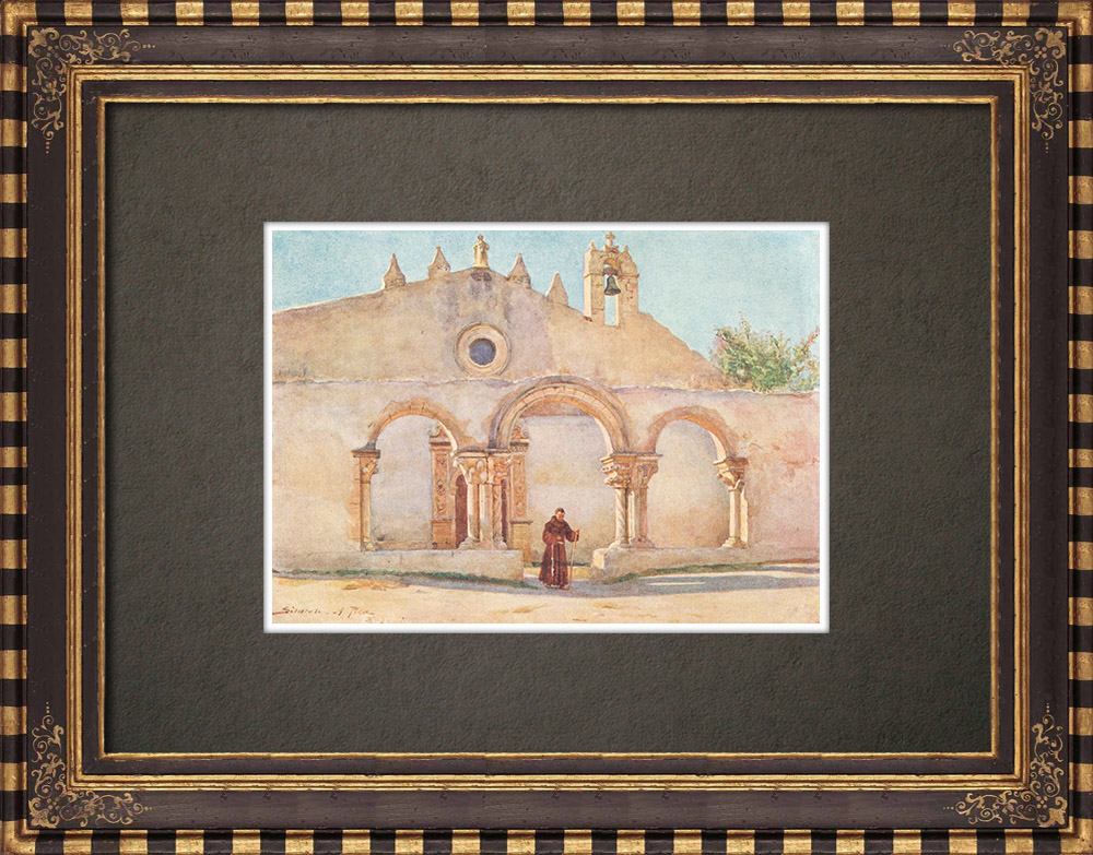 Gravures Anciennes & Dessins | Eglise San Giovanni alle catacombe - VIème Siècle - Syracuse (Italie) | Impression | 1911