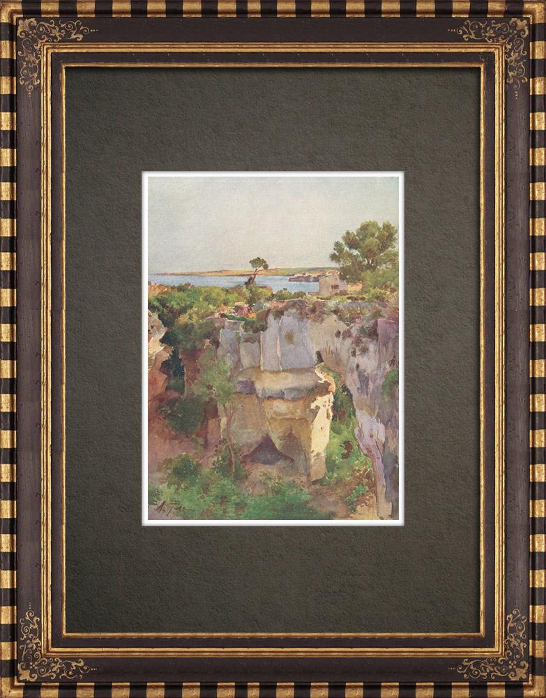 Gravures Anciennes & Dessins | Latomie des Capucins - Grèce antique - Prison - Syracuse (Italie) | Impression | 1911