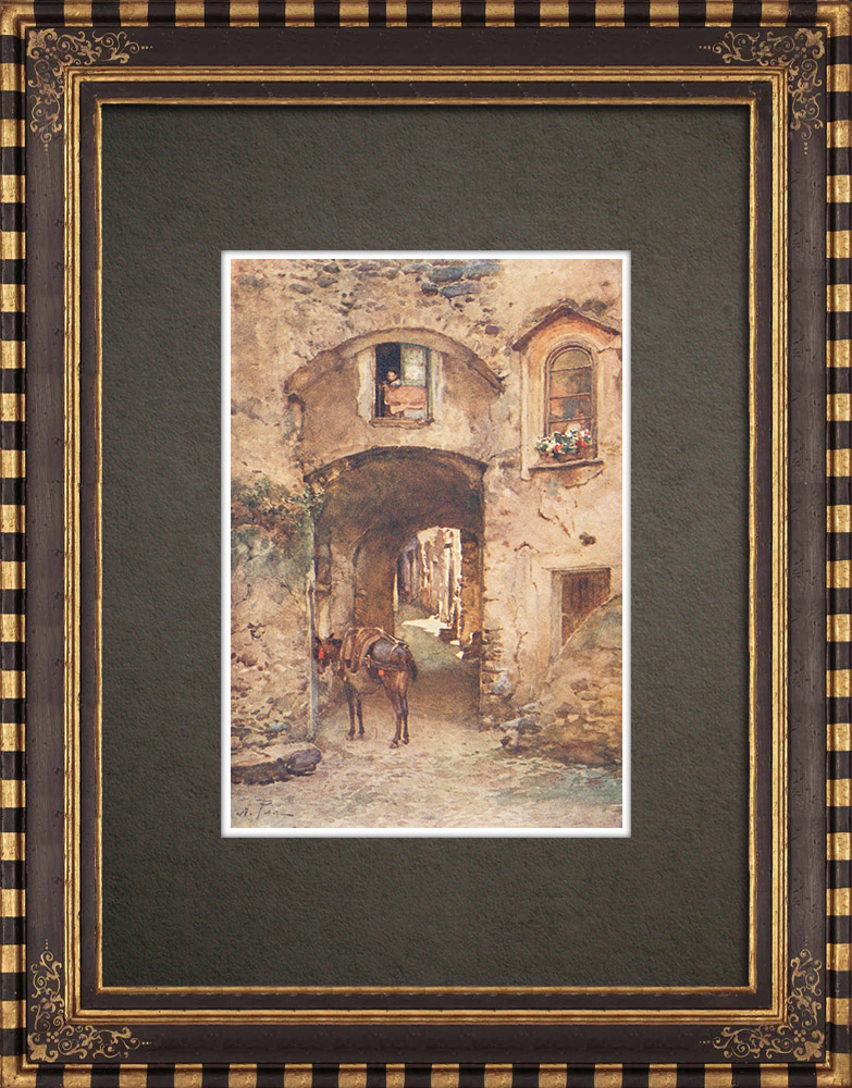 Antique Prints & Drawings | A street in Castrogiovanni - Enna - Ancient Greece - Monte San Giuliano - Sicily (Italy) | Print | 1911