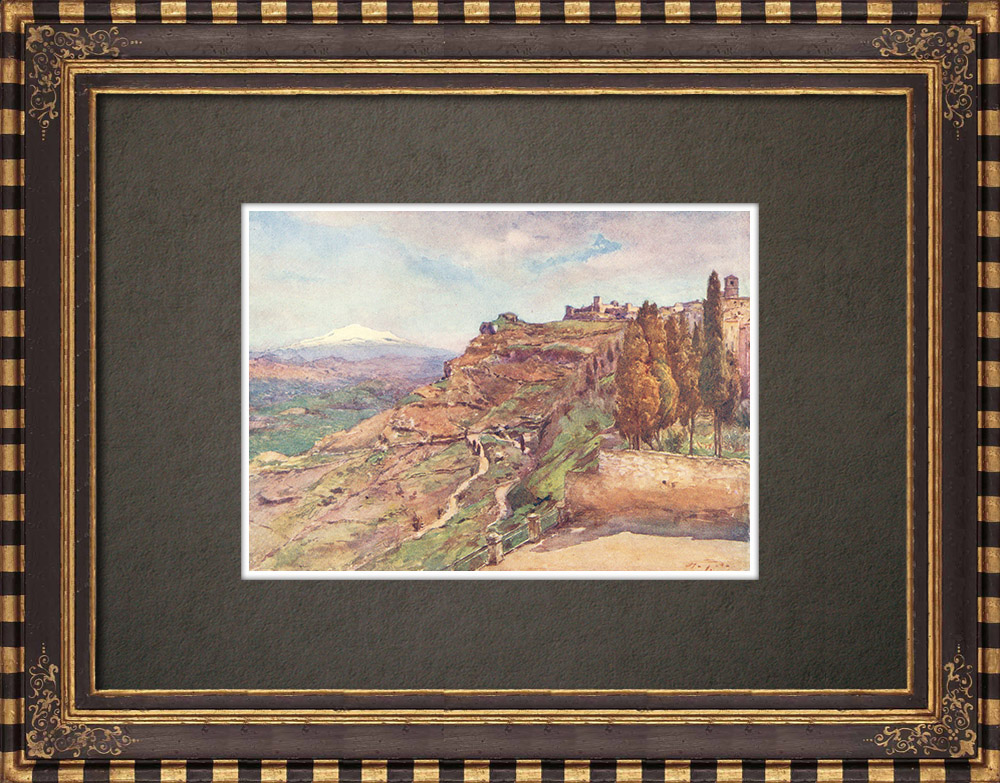 Antique Prints & Drawings | Castrogiovanni - Enna - Ancient Greece - Monte San Giuliano - Sicily (Italy) | Print | 1911