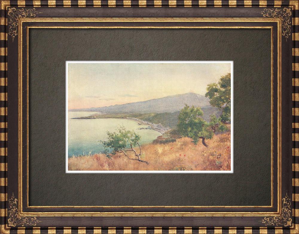 Antique Prints & Drawings | Prospect from Taormina - Mount Etna - Giardini Naxos - Schisò - Messina - Sicily (Italy) | Print | 1911