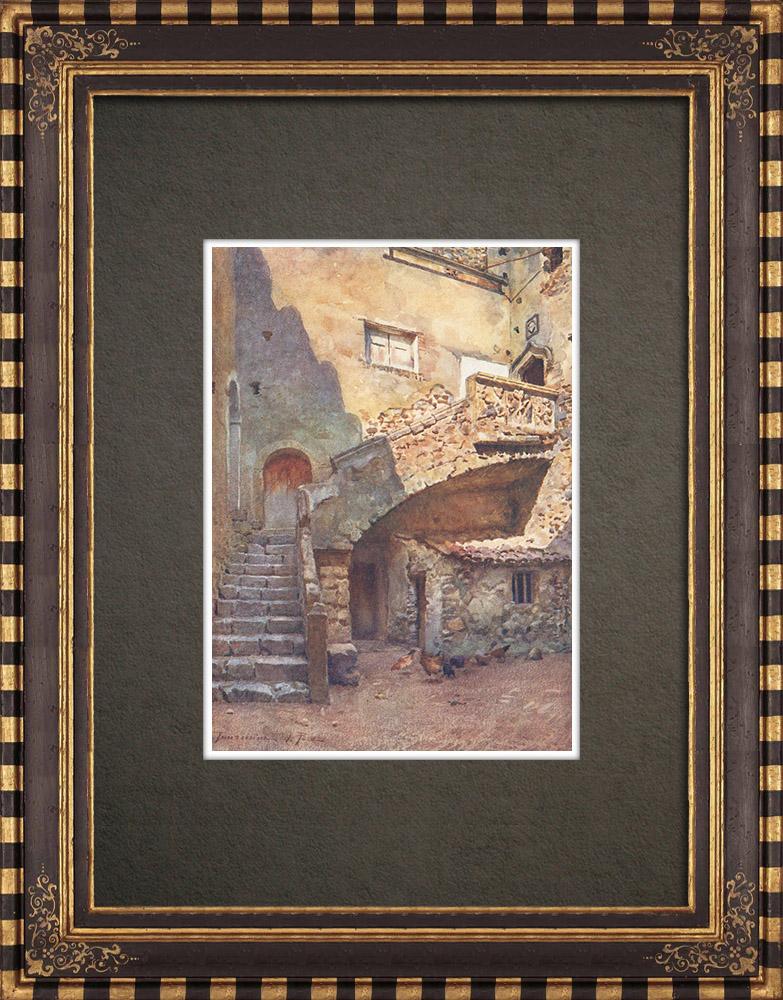Grabados & Dibujos Antiguos | Patio del Palazzo Corvaia - Edad Media - Taormina - Sicilia (Italia) | Estampa | 1911
