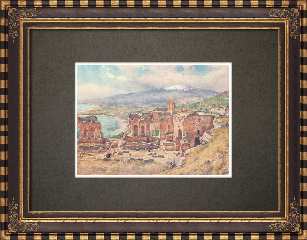 Antique Prints & Drawings | Taormina Theater - Ancient Greece - 3th Century BC - Sicily (Italy) | Print | 1911