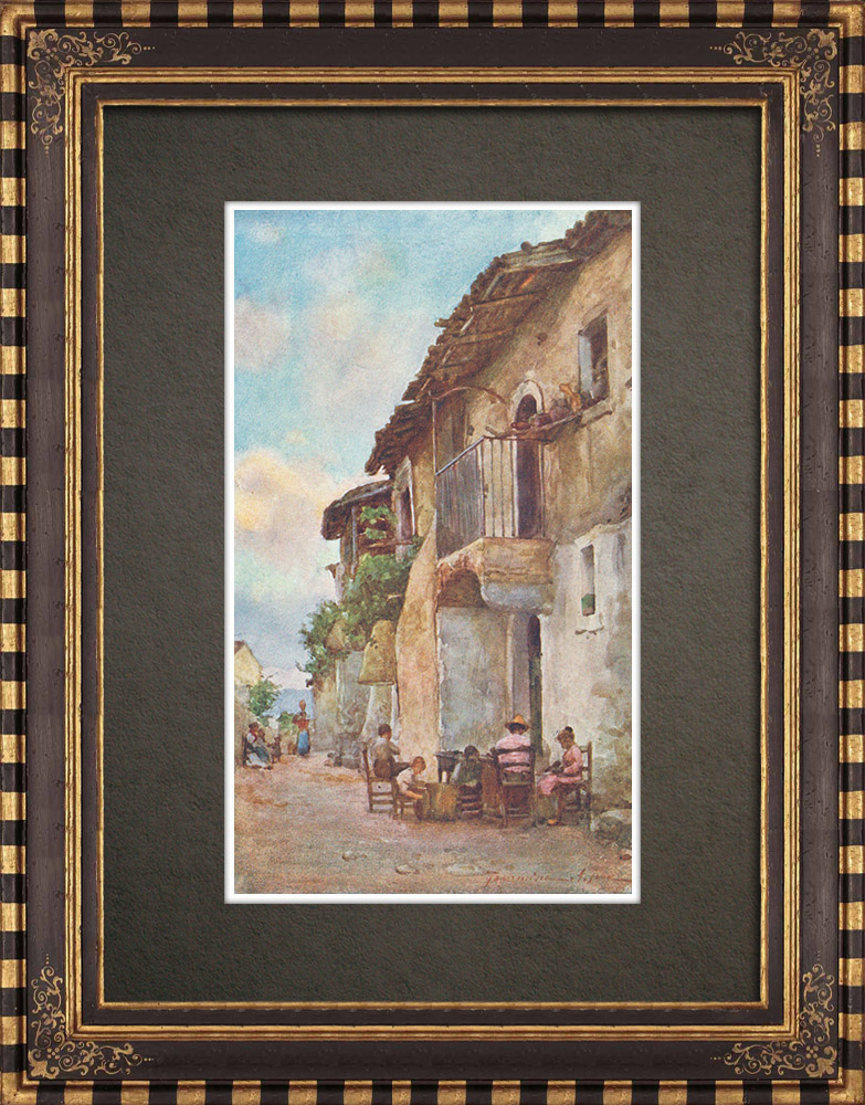 Antique Prints & Drawings | Old Houses in Taormina - Messina - Sicily (Italy) | Print | 1911