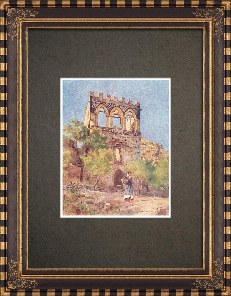 Antique Prints & Drawings   Palace Badia Vecchia - Medieval - Taormina - Sicily (Italy)   Print   1911