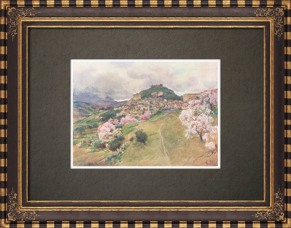 Antique Prints & Drawings | View of Girgenti - Agrigento - Valley of the Temples - Ancient Greece - Sicily (Italy) | Print | 1911