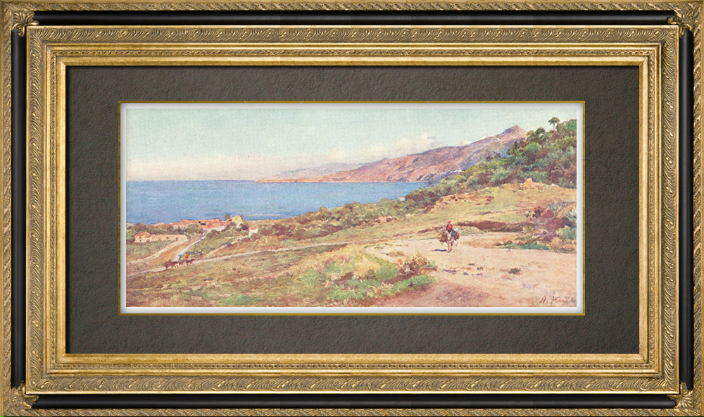 Gravures Anciennes & Dessins   Plage de Caldura à Cefalù - Palerme - Sicile (Italie)   Impression   1911
