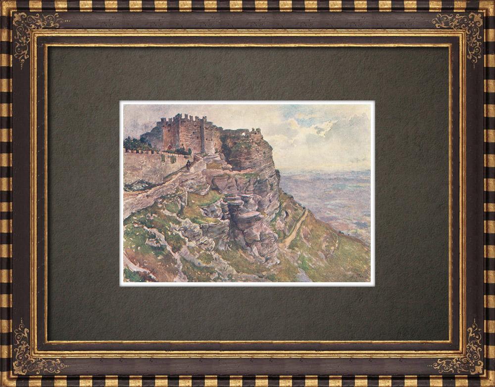 Gravures Anciennes & Dessins   Castello di Venere - Erice - Mont San Giuliano - Sicile (Italie)   Impression   1911