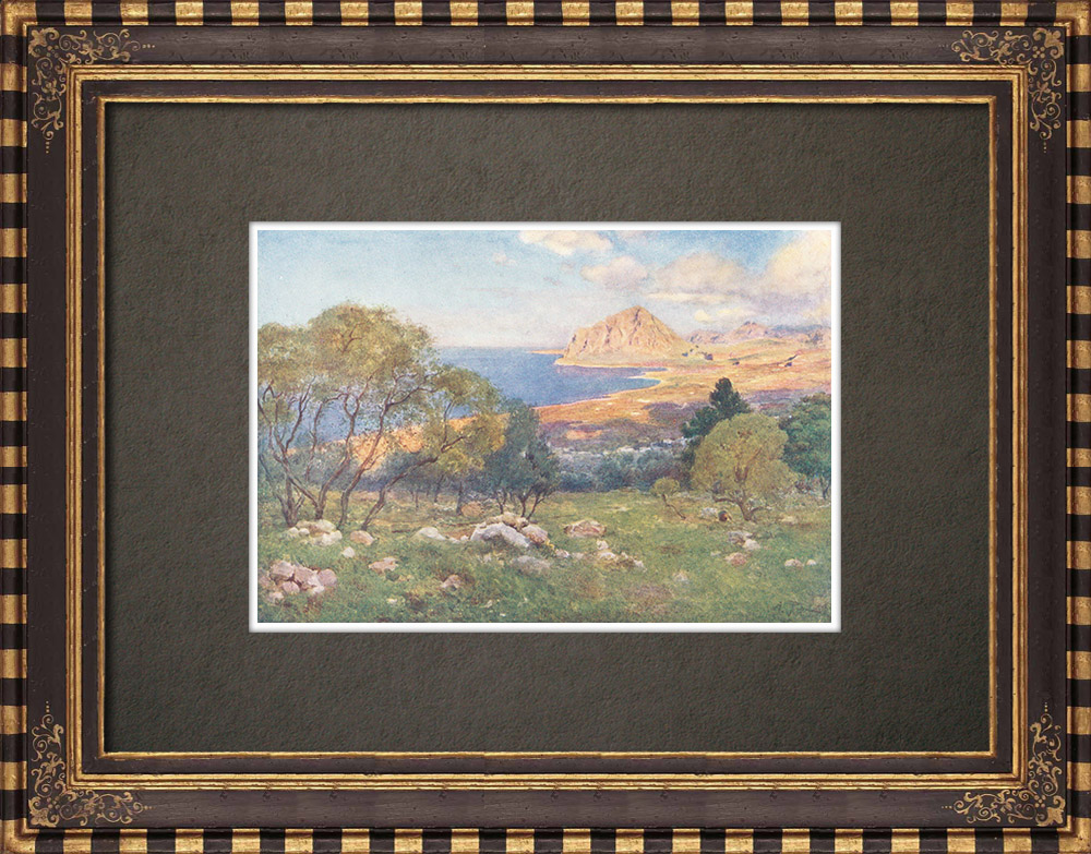 Antique Prints & Drawings   Monte Cofano from Portarella - Trapani - Sicily (Italy)   Print   1911
