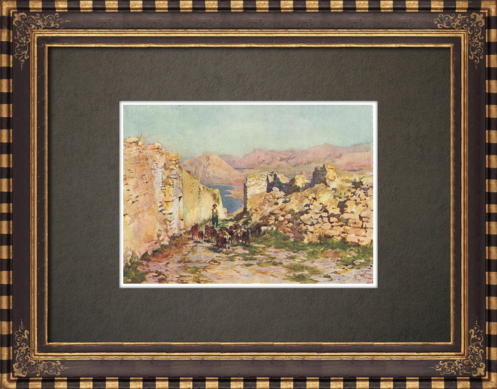 Antique Prints & Drawings   Eryx - Monte San Giuliano - Archaeological site - Sicily (Italy)   Print   1911