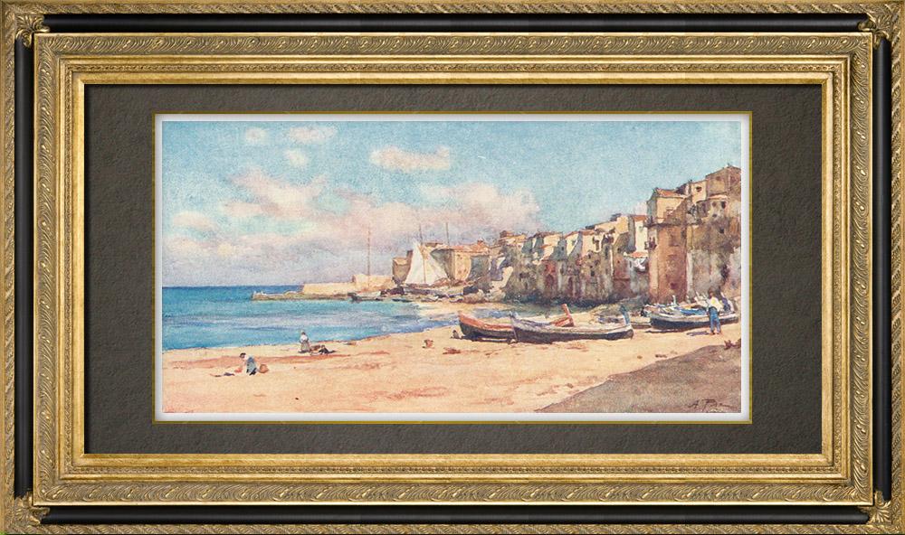 Grabados & Dibujos Antiguos   Puerto de Cefalù - Sicilia (Italia)    Estampa   1911