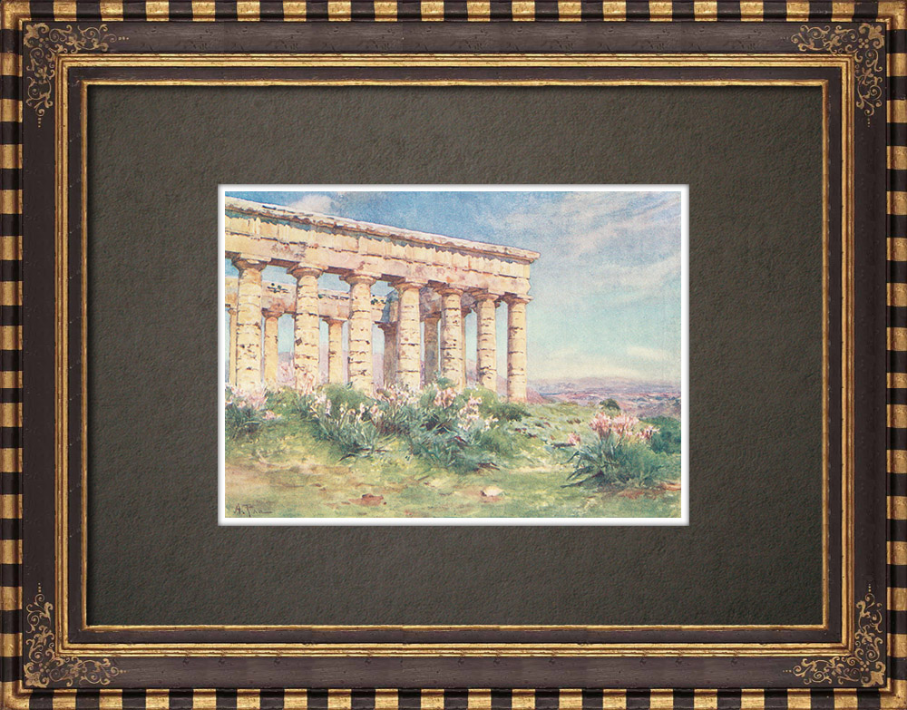 Gravures Anciennes & Dessins | Temple de Ségeste - Grèce antique - Sicile (Italie) | Impression | 1911