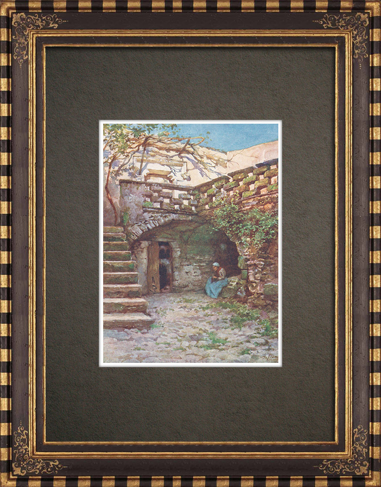 Gravures Anciennes & Dessins | Vue de Erice - Monte San Giuliano - Trapani - Sicile (Italie) | Impression | 1911