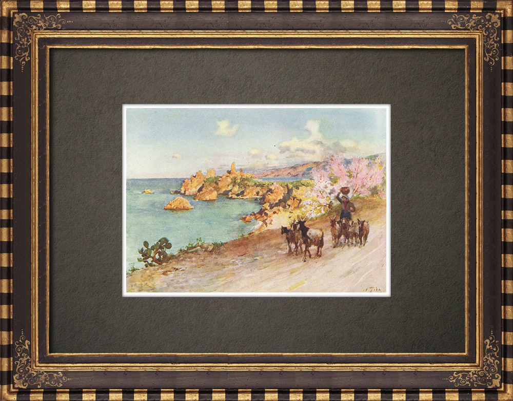 Antique Prints & Drawings | Caldura beach at Cefalù - Palermo - Sicily (Italy) | Print | 1911