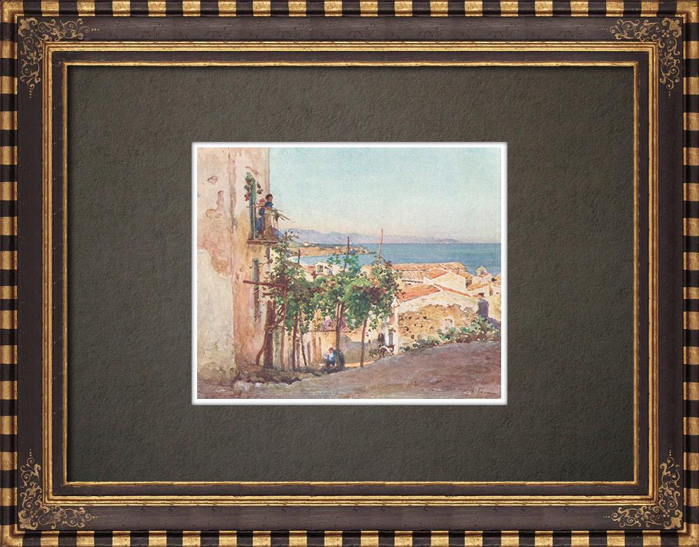 Gravures Anciennes & Dessins   Une rue de Cefalù - Sicile (Italie)   Impression   1911