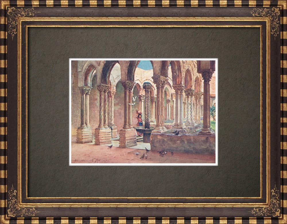 Gravures Anciennes & Dessins | Cloître de Monreale - Sicile - Palerme (Italie) | Impression | 1911