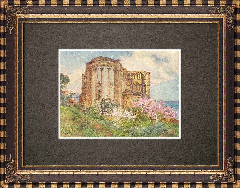 Gravures Anciennes & Dessins | Cathédrale de Cefalù - Sicile (Italie) | Impression | 1911