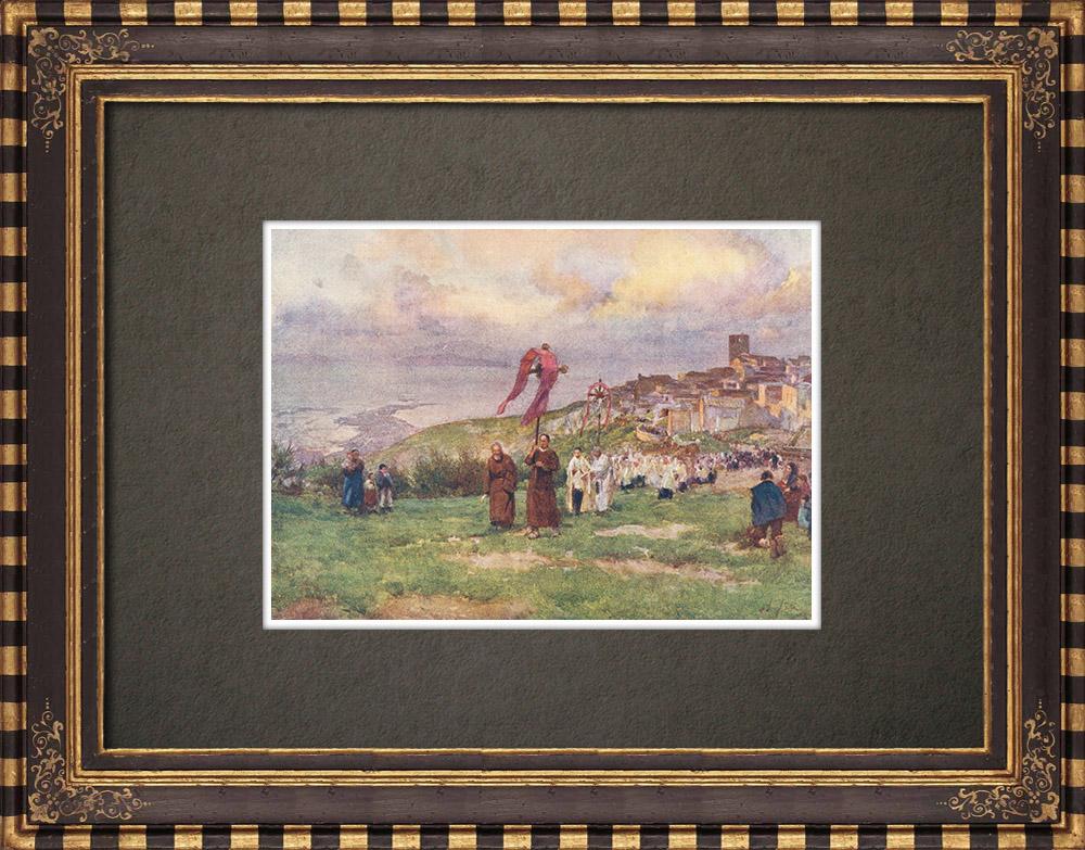 Gravures Anciennes & Dessins   Procession au Mont San Giuliano - Erice - Sicile (Italie)   Impression   1911