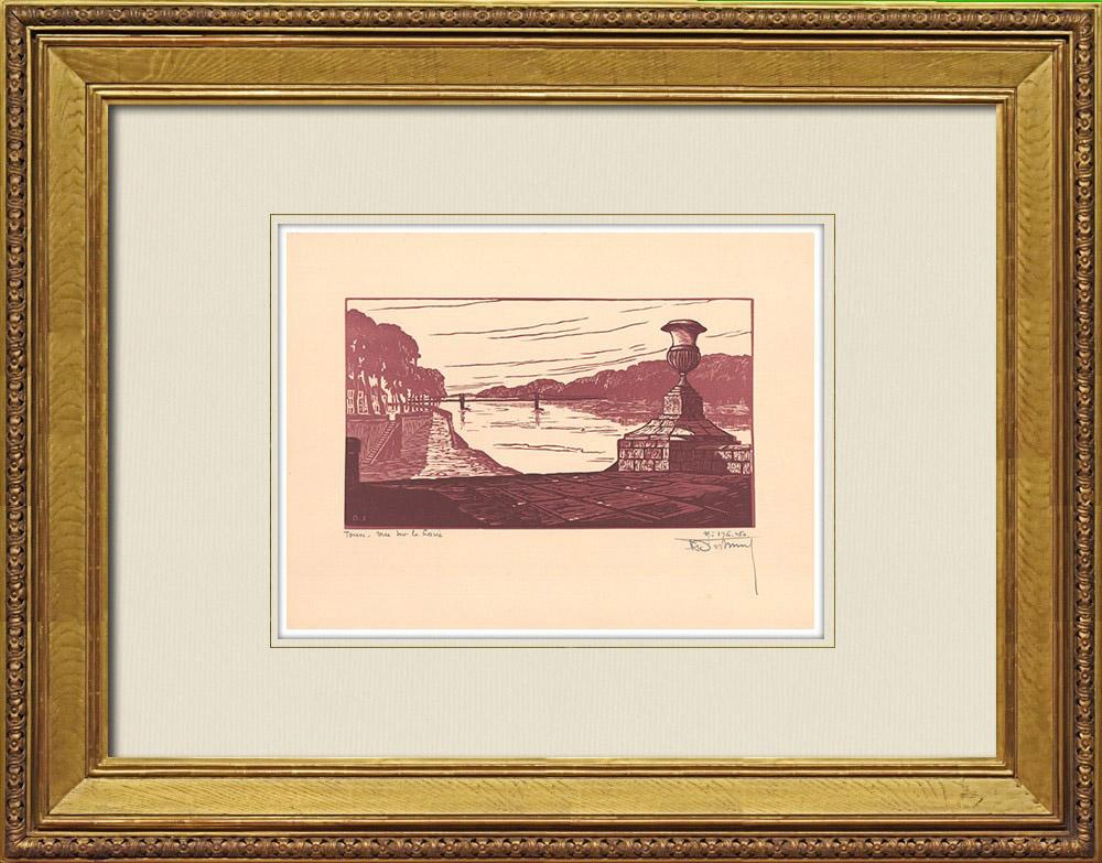 Gravures Anciennes & Dessins   Tours - Vue sur la Loire - Indre-et-Loire (France)   Gravure sur bois   1933