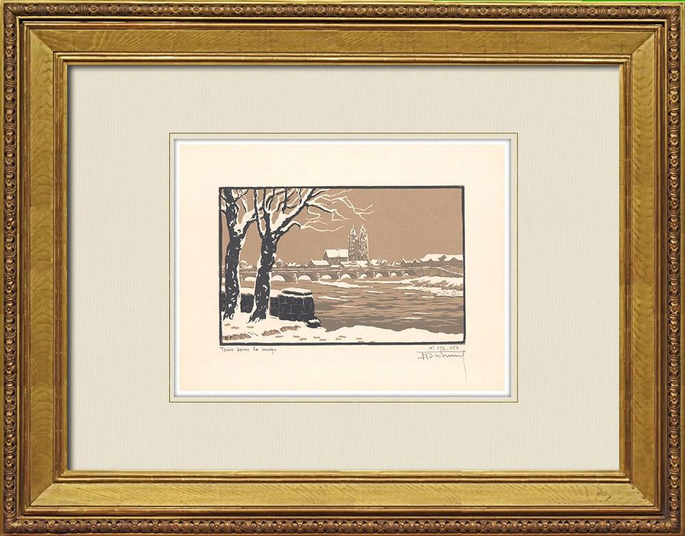 Gravures Anciennes & Dessins | Vue de Tours sous la neige - Indre-et-Loire (France) | Gravure sur bois | 1933