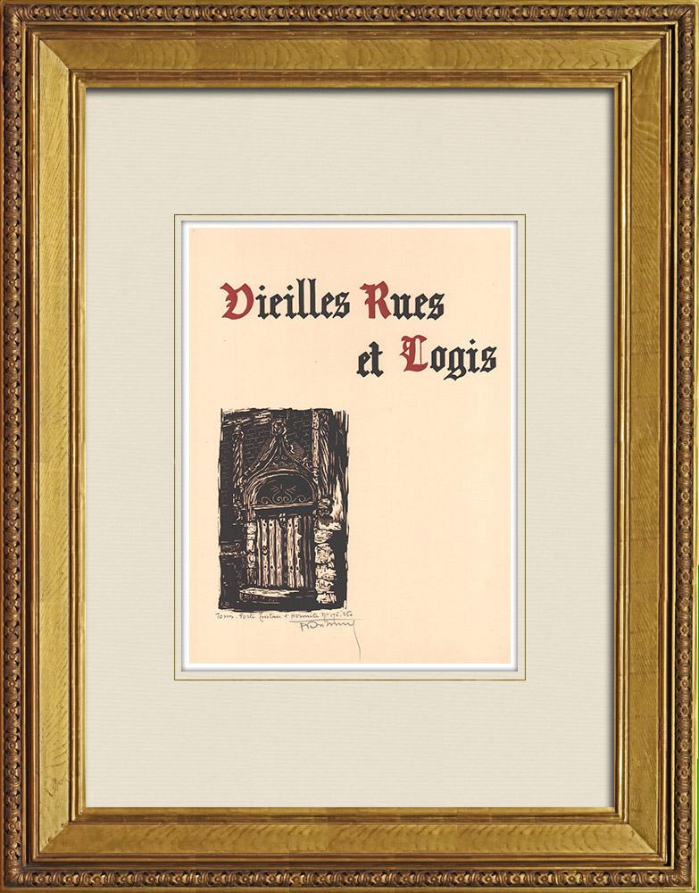 Gravures Anciennes & Dessins | Porte de la Maison Tristan-L'Hermite à Tours - Indre-et-Loire (France) | Gravure sur bois | 1933