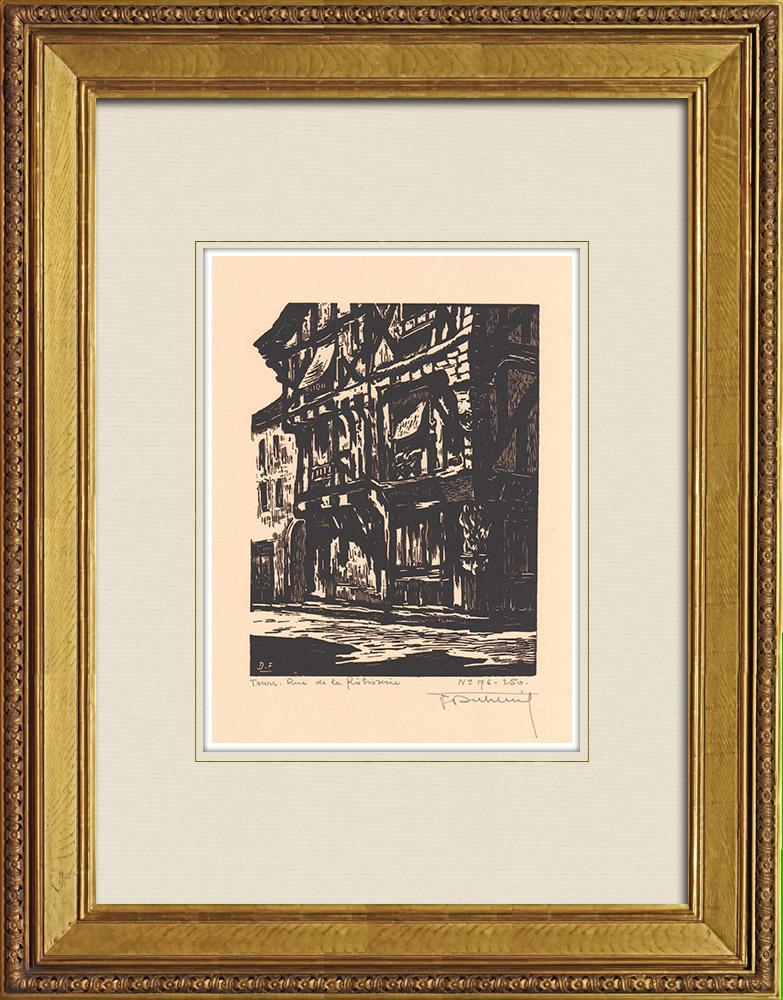 Gravures Anciennes & Dessins | Rue de la Rotisserie - Maison ancienne - Tours - Indre-et-Loire (France) | Gravure sur bois | 1933