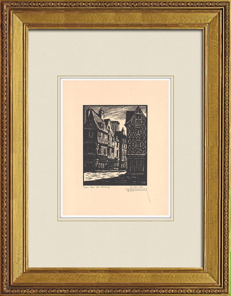 Antique Prints & Drawings | Rue du Change - Old houses - Tours - Indre-et-Loire (France) | Wood engraving | 1933