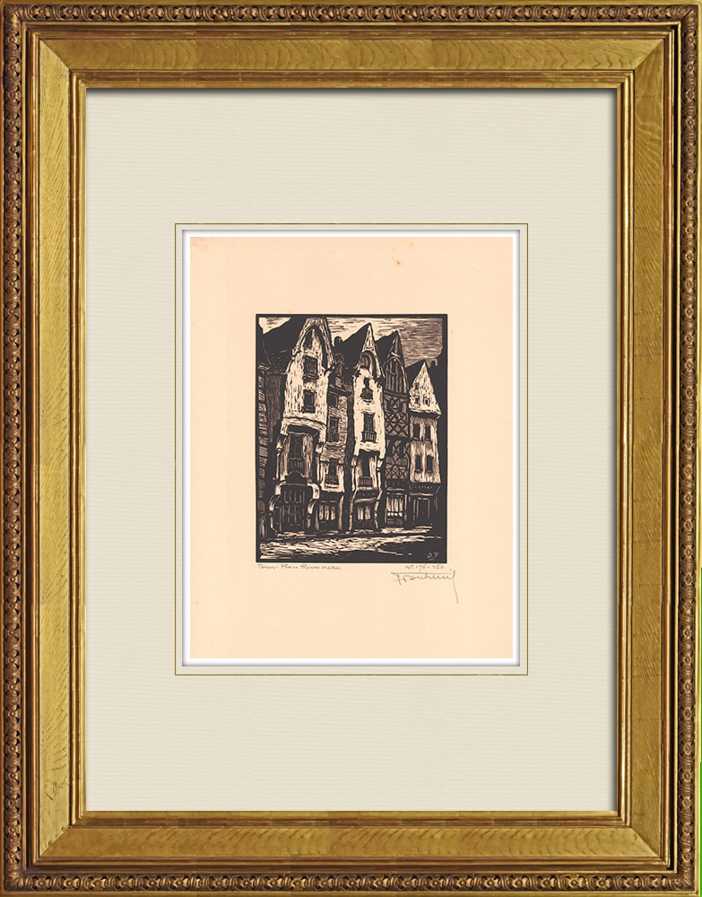 Antique Prints & Drawings | Place Plumereau- Timber framings - Tours - Indre-et-Loire (France) | Wood engraving | 1933