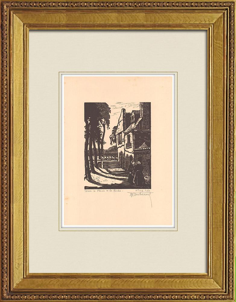 Antique Prints & Drawings   Tours - Placis de la Riche - Indre-et-Loire (France)   Wood engraving   1933