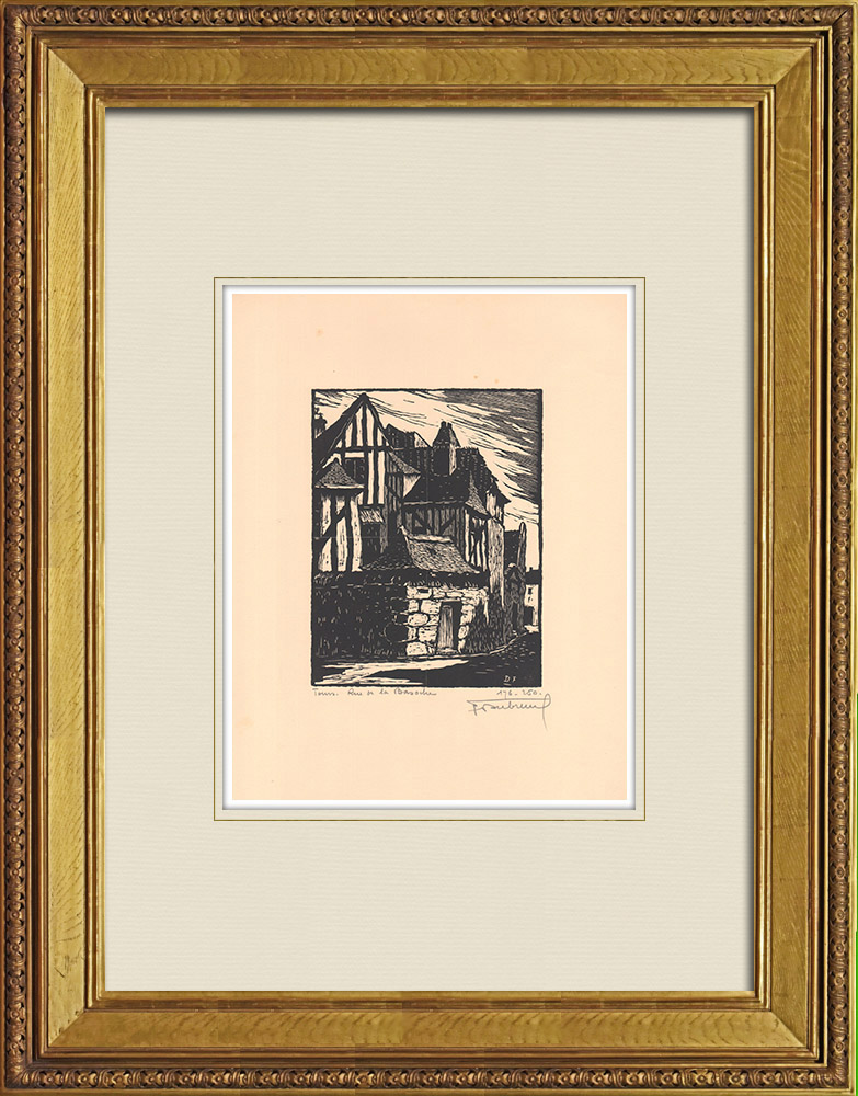 Antique Prints & Drawings | Rue Bazoche - Timber framing - Tours - Indre-et-Loire (France) | Wood engraving | 1933