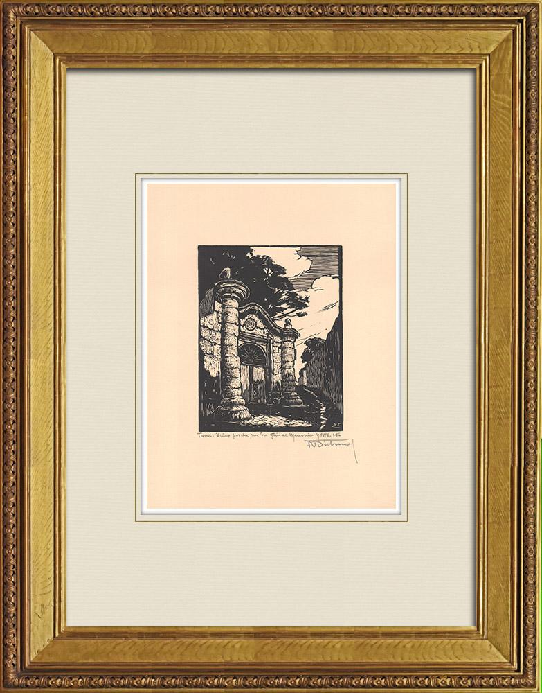 Antique Prints & Drawings   Rue du Général Meusnier in Tours - Old porch - Indre-et-Loire (France)   Wood engraving   1933