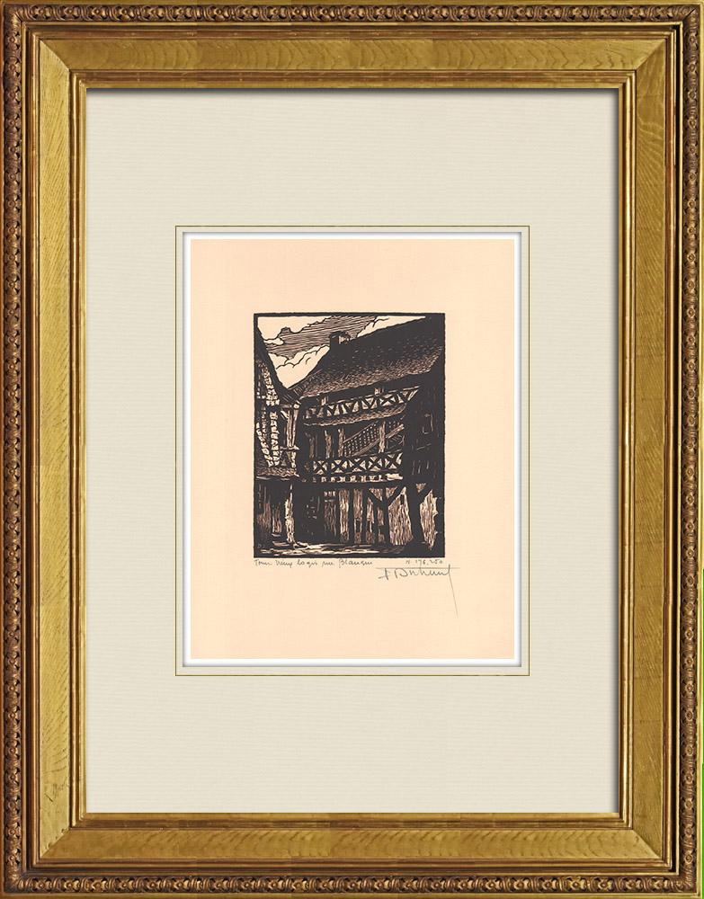 Antique Prints & Drawings | Rue Blanqui in Tours - Vieux Logis - Indre-et-Loire (France) | Wood engraving | 1933