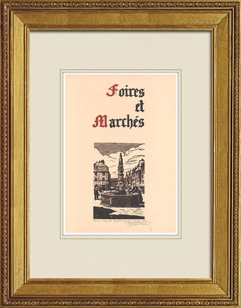 Gravures Anciennes & Dessins | Place du grand Marché à Tours - Val de Loire - Indre-et-Loire (France) | Gravure sur bois | 1933