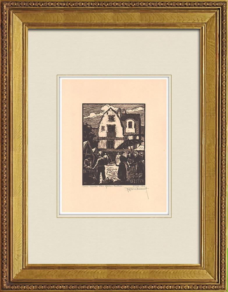 Antique Prints & Drawings | Place Gaston Paillhou in Tours - Market - Loire Valley - Indre-et-Loire (France) | Wood engraving | 1933