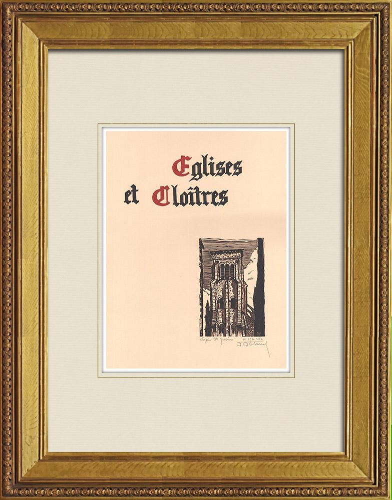 Antique Prints & Drawings | Church Saint-Julien in Tours - Loire Valley - Indre-et-Loire (France) | Wood engraving | 1933