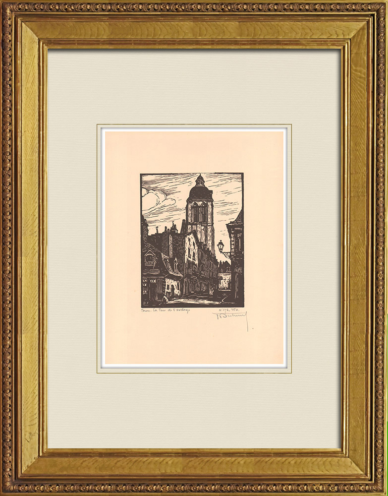 Antique Prints & Drawings | Clock Tower in Tours - Loire Valley - Indre-et-Loire (France)  | Wood engraving | 1933