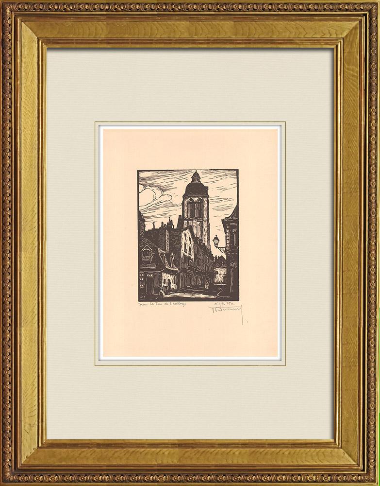 Grabados & Dibujos Antiguos | Torre del Reloj en Tours - Valle del Loira - Indre y Loira (Francia) | Grabado xilográfico | 1933