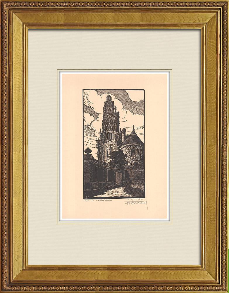 Gravures Anciennes & Dessins | Cathédrale Saint-Gatien de Tours - Val de Loire - Indre-et-Loire (France) | Gravure sur bois | 1933