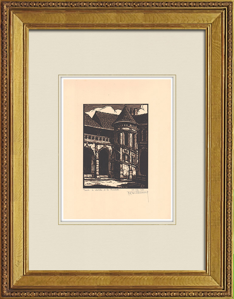 Antique Prints & Drawings   Cloister - Cloître de la Psalette - Tours - Loire Valley - Indre-et-Loire (France)   Wood engraving   1933