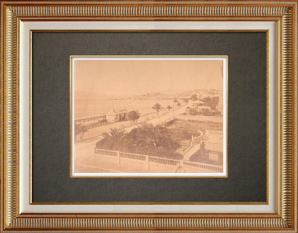 Gravures Anciennes & Dessins | Vue de Cannes - La Croisette - Alpes-Marítimes (France) | Photographie | 1880